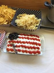 Old Glory Dip - Refried Beans, salsa, Guacamole, sour cream and cheese